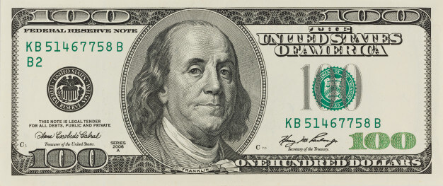 100 dollar bill note