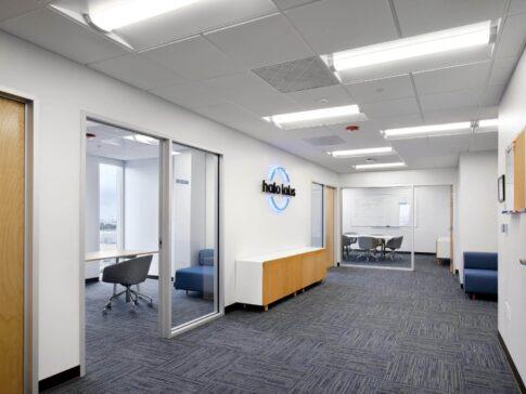 Office space renovation - wooden doors, flooring and glass window