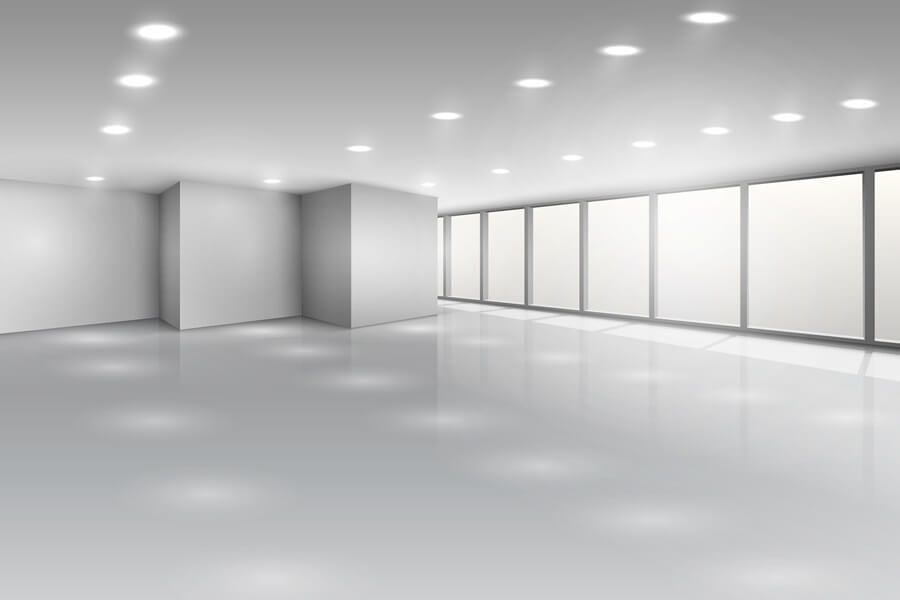 Light conference room or office open space interior with windows