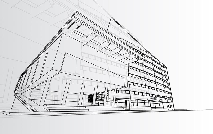 isometric design of a commercial building