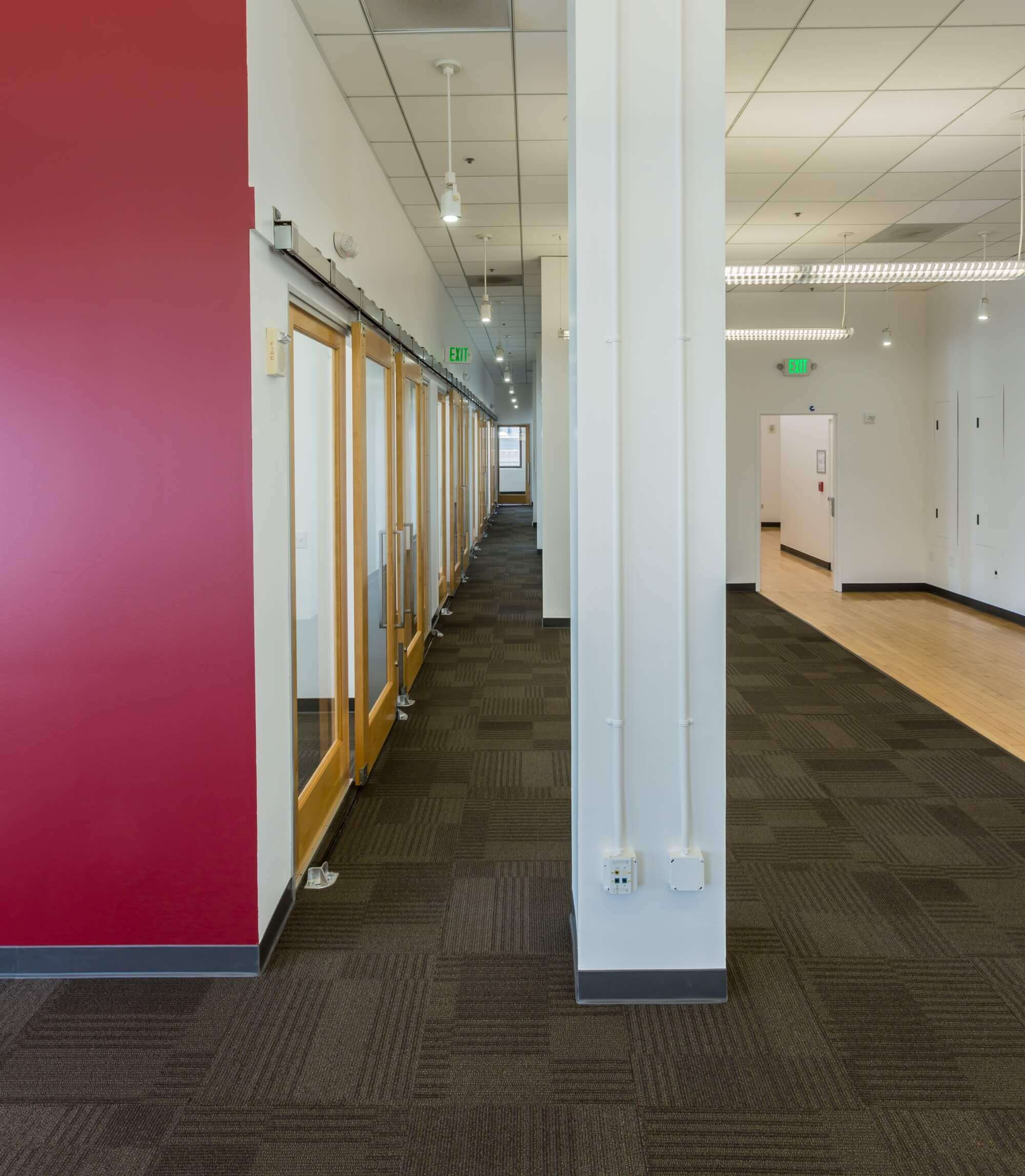Lucidworks Tenant Improvement – San Francisco- red wall-white pillars