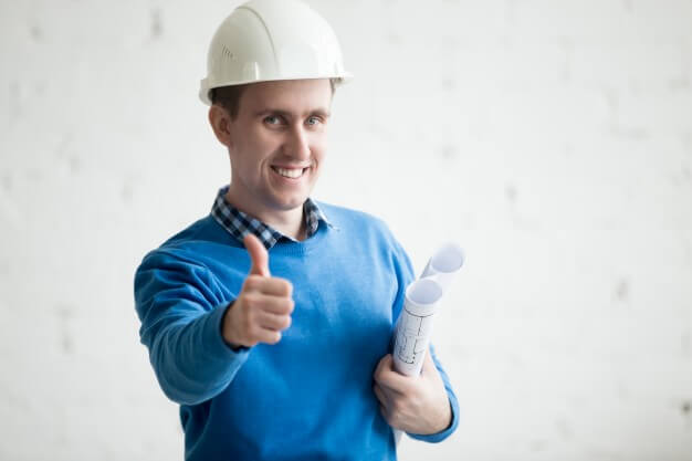 general contractor showing thumbs up