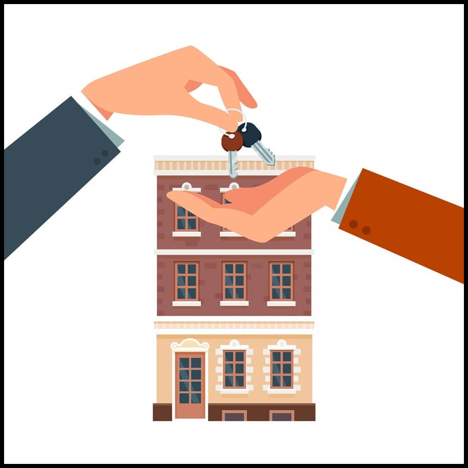 Real estate agent giving a home key chain to a buyers hand. Tenant agreement