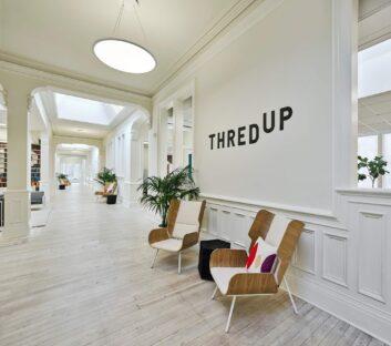 2 leisure brown chair in ThredUP's office
