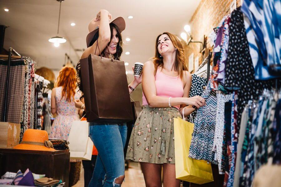 women enjoying shopping in shopping mall in san francisco